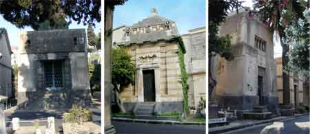 Funeral chapels from the early 900s. From left to right: Fortuna Chapel (1927, architect Br. Fichera), Patanè Chapel (1918, arch. Br. Fichera), Fichera Chapel (1915)