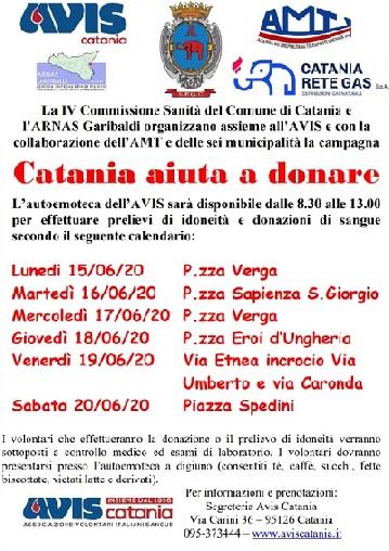 """Catania aiuta a donare"""" dal 15 al 20 giugno in sei piazze"""